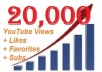 give your YOUTUBE video 20,000+ Views, 50+ likes, 1+ Favorites and 1+ Subscribers