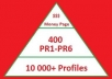 will create powerful High PR Backlink Pyramid to promote your website high in search engines. Get 400+ PR1-PR6 or even greater PR forum profile Backlinks Pointing directly to your website and 10 500 +