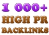 build over 1050 High PR backlinks to your site to give more authority