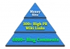 create a Super Link Pyramid with 300 High PR Wiki Links Plus 6000 Blog Comments to them 