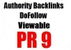 MANUALLY create 10 REAL PR9 DOFOLLOW backlinks from HIGH authority sites