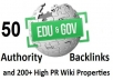 create 50 POWErFUL EdU and GoV Seo Backlinks Manually done and 250 High PR Wiki Links Properties Get First Page Google Rankings