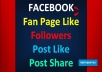 give you Facebook Fans (50 like+50 follower+50 Post like+50 Share) without Password