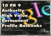 Manually create 15 Backlinks from PR9 Authority Sites,Permanent, Dofollow,Panda Proofed ! SEO!