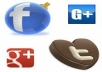 give you amazing service with 50+ real face-book shares,50+ real twitter followers shares ,and 50+ real human user id Google+1`s shares for your excellent website/you-tube link popularity just