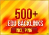 build 500+ EDU and gov backlinks for your website, for any url through blog comments