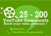 give You 100 SUPER Comments to Your Youtube Videos + 20 Likes to Boost popularity for
