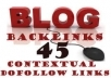 create 44 High Authority Contextual BACKLINKS on a Private PR1 to PR6 Dofollow Blog Network, Multiple Class C and Ip