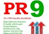 create you 20  PR9 backlinks from 20 different PR 9 High Authority sites [DoFollow, Anchor Text, Panda Penguin Frindly] + pinging