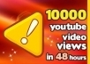 Give you 10000 youtube video views plus 30 to 70 likes, 30 custom comments,10 favorites and 20 subscribers 