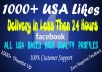 send you 1000+ Real Looking USA Facebook Page Likes with Profile Avatar's