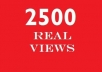 get you not less than 2500 GUARANTEED Real human youtube views