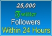 send 25,000 real looking followers to your twitter account within 24 hours without admin access