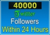 send 40000 twitter follower to your any 2 twitter account within 2 hours 20000x2=40000