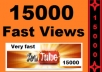 give 15000 youtube views, 20 likes 20 favorites and 15 subscribers