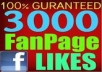 3OOO facebook likes for your page