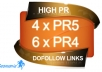 manually build 4 x PR5 and 6 x PR4 dofollow High Quality backlinks with anchor text on actual PR5 and PR4 page + submitt them to linklicious just