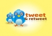 provide you 100 retweets from real user AND tweet your message to 220000+ loyal followers