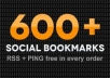add ur website up to 600+ bookmarking sites + free PING and get index quickly + Safe with Panda and penguin Update