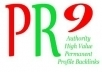 make you 20 PR9 high value authority profile backlinks from different PR 9 domains Panda Penguin Friendly most are DoFollow with Anchor Text just only