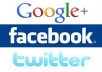 give you 100 Google Plus+ 100 Fb Fans like +100 Twitter Followers After finished work will post your  link in my 5 milion Fb group members Wall and 10,000 Fb Fans wall