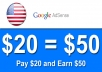 add $50 to your Google AdSense Account (AdSense Safe)
