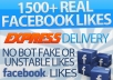 1500+ facebook Fan page likes from european countries, all real and active FB fans