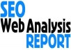 create complete SEO Web Analysis Report