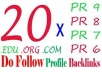 give you 50 high PR6 to PR8 backlinks + Ping with full report