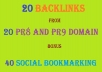 Manually create 20  Backlinks from 20 Pr8 Authority domain in Tier1 Followed by 40 Social Bookmarking + Panda and Penguin Friendly + Indexing