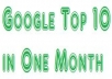 Get Your Website in Google Top 10 in One Month