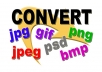 convert up to 2 of your Graphics Image Files to your preferred format like jpg, jpeg, png, bmp, gif, psd