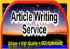 write 2 unique Article 500++words/article SEO friendly Good Quality, Grammar and Copyscape Passed Best Article Writing Service