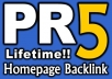 give PR5 Permanent Dofollow Homepage Link on Valid PR5 US English site {Guarantee less than 50 OBLs}