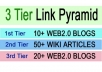 I will build 3 Tier Multi tier LINK PYRAMID with over 30 web 2 properties and wiki Backlinks