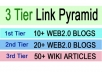 I will build 3 Tier LINK PYRAMID with over 30 web2 Posts and wiki Backlinks
