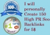 personally Create150 High PR Seo Backlinks