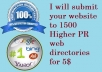 submit your  website to1500 Higher PR web directories