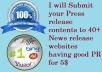 Submit your Press release contents to 40+ News release websites having good PR