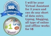 be your Online Secretary  for 3 Hours and can do any short of data entry, typing, blogging, all kind of online and offline tasks