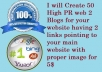 Create 50 High PR web 2 Blogs for your website having 2 links pointing to your main website with proper image