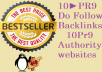 manually Create 10 PR9 Top quality Do Follow Backlinks from 10 Unique Pr 9 Authority websites + Panda and Penguin Friendly + Indexing