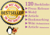 manually Build 120 high PR Seo Backlinks from most popular sites like news release, web2, article, bookmarking and many more + Indexing