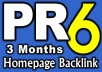 give PR6 DoFollow Homepage Link for 3 Months on Valid PR6 US English site {Guarantee less than 50 OBLs}