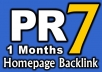 give PR7 DoFollow Homepage Link for 1 Month on Valid PR7 US English site {Guarantee less than 50 OBLs}