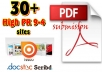 convert your Article into pdf file and Manually Submit to Top 30+ High PR 9 to 4 doc Sharing sites