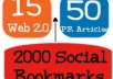 boost your ranking and TRAFFIC with (Penguin SAFE) 75 PR3 - PR8 LlNKWHEEL with 2000 social bookmark backlinks 100% SAFE (The cheapest service in SEOCLERKS!)