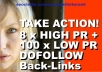 give you 8 PR1 Back-Links DOFOLLOW and 100 no PR Links dofollow