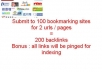 do 200 social bookmarking submission for your 2 URLs