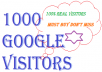 send you 1000 Google search website visitors of actual value 50 dollar from Google Search Engine by your keyword search real human traffic